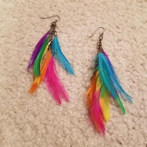 Multicolor Feather earrings